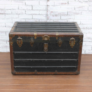 Antique Black Steamer Trunk - Front