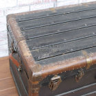 Antique Black Steamer Trunk - Left Side