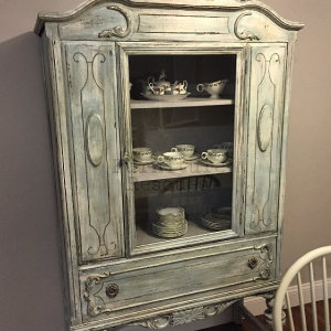 Blue Antique China Cabinet