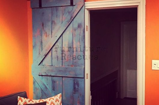 Blue Crackle Finish Barn Door