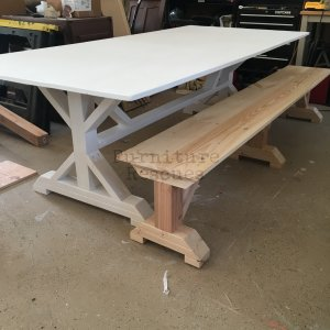 Farm Table And Rustic Bench Unfinished Bench