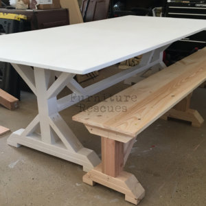 Farm Table And Rustic Unfinished Bench