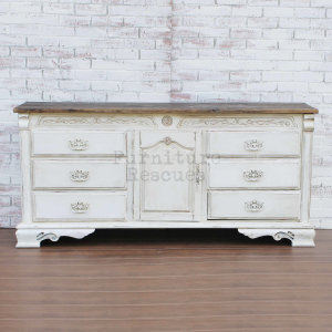 French Country Server With Reclaimed Wood Top - Front