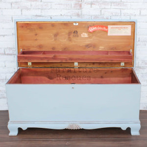 Shabby Blue Lane Cedar Chest - Lid Open
