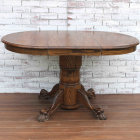 Small Clawfoot Pedestal Dining Table - With Leaf